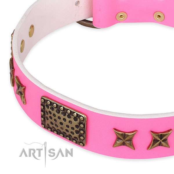 Quick to fasten leather dog collar with extra sturdy durable buckle
