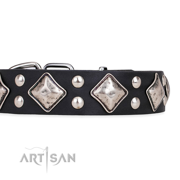 Easy to put on/off leather dog collar with almost unbreakable non-rusting fittings