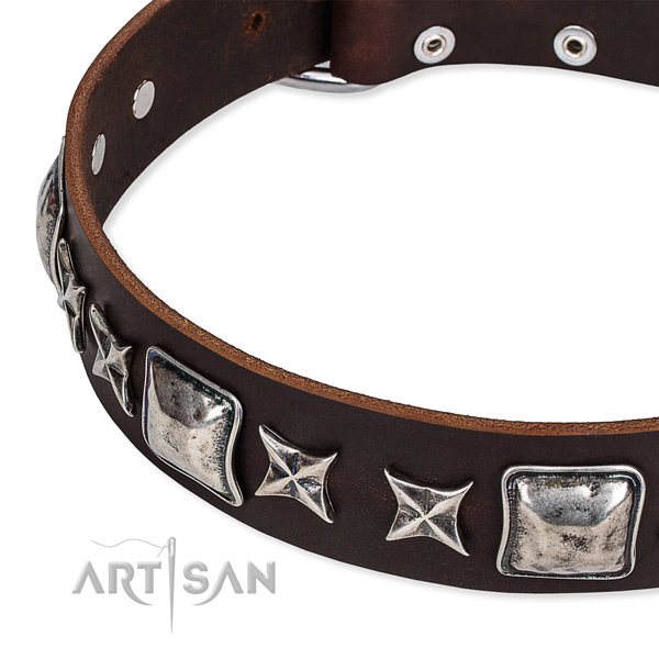 Adjustable leather dog collar with almost unbreakable rust-proof buckle