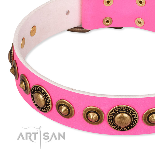 Easy to put on/off leather dog collar with extra strong old-bronze plated fittings