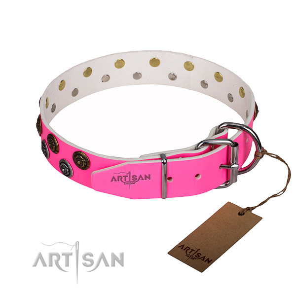 Heavy-duty leather dog collar with corrosion-resistant elements