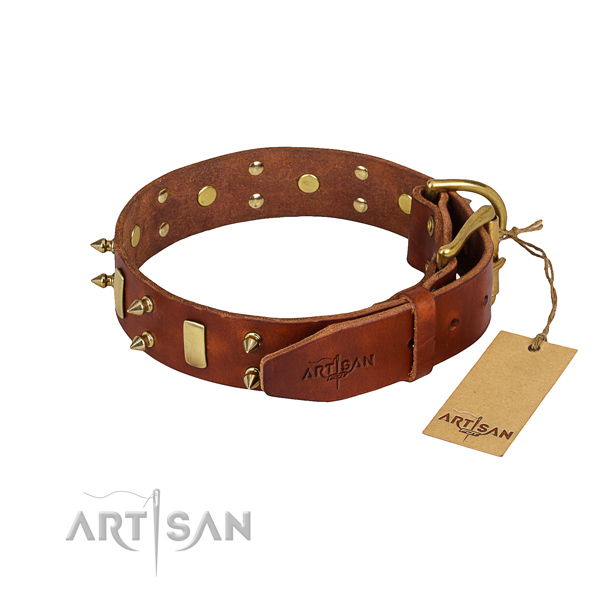 Full grain leather dog collar with smooth exterior