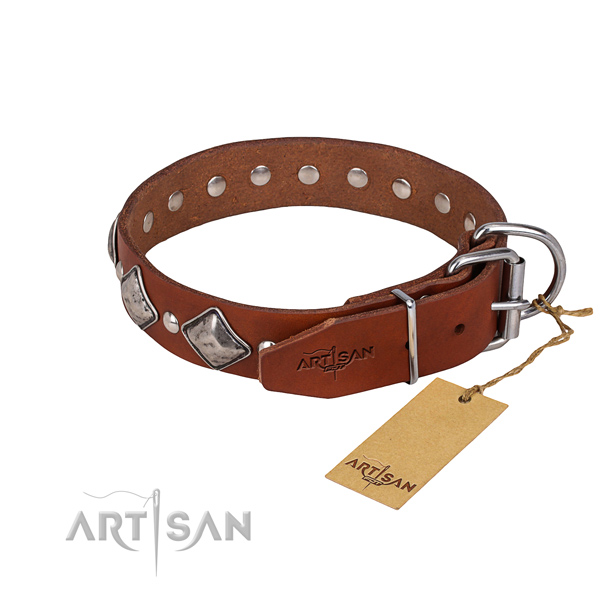 Full grain leather dog collar with thoroughly polished exterior