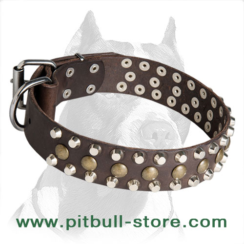 Handcrafted leather dog collar with studs and pyramids