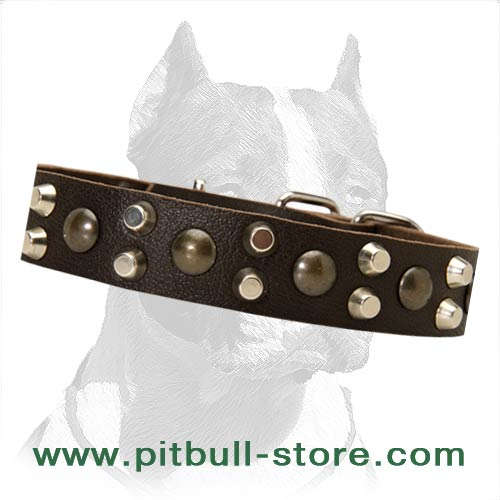 Leather Dog Collar with easy adjustable buckle