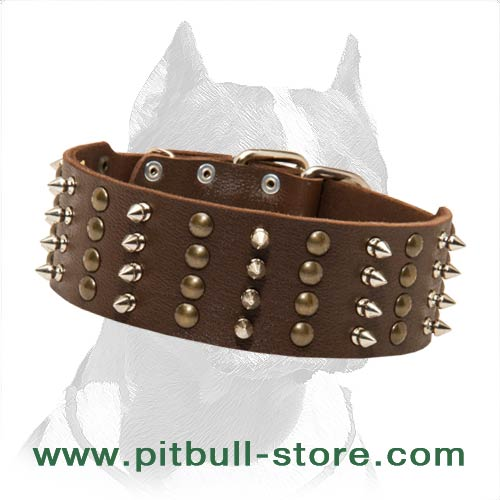 Genuine Leather Dog Collar for Pitbull