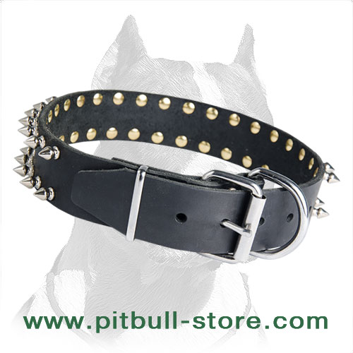 Pitbull leather collar with D-ring and buckle