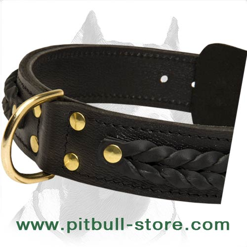 Comfortable Leather Collar for Pitbull