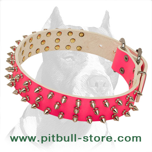 Pink glamorous dog collar with spikes, handcrafted