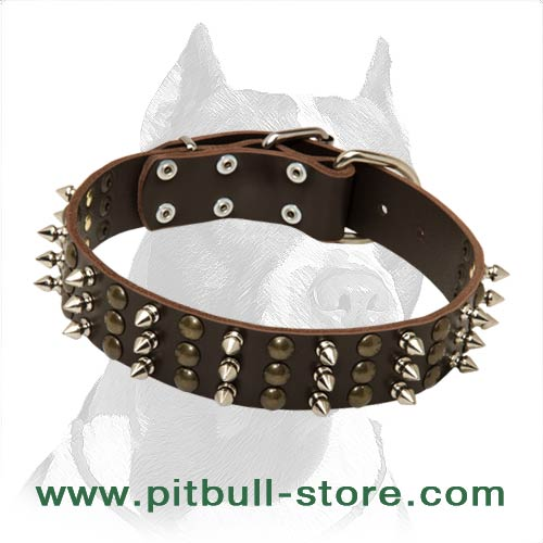 Comfortable Leather Collar 1 1/2 inch (40 mm) wide