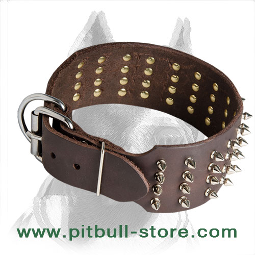 3 inch wide dog collar with 4 rows of spikes