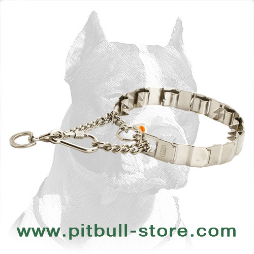 Dog neck-tech collar of rustproof stainless steel