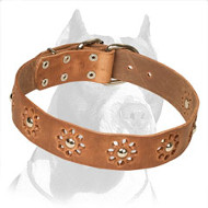 'Elegant Flower' Pitbull Leather Dog Collar
