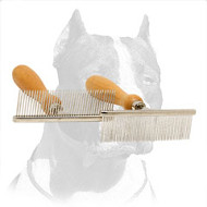 'Personal Stylist' Pitbull Dog Comb with Wooden Handle