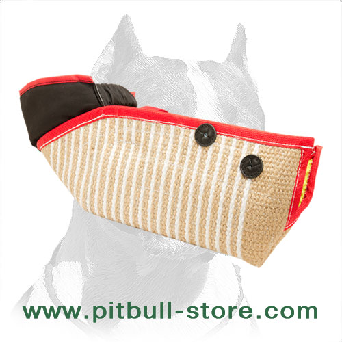 Pitbull training half-sleeve made of jute material with adjustable straps
