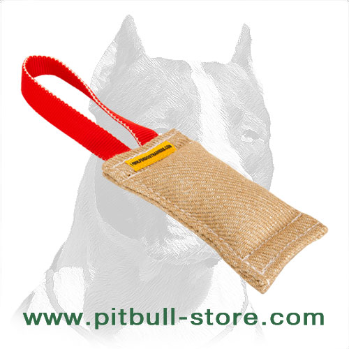 Dog bite tug, carefully stitched