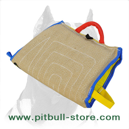 Dog sleeve of jute material for intermediary Pitbull training