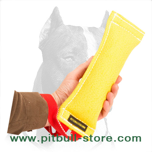 Dog bite training tug with soft synthetic stuffing