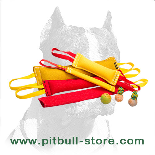 Pitbull training set of French linen bite tugs