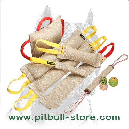 Tug's set with 3 amazing toys for Pitbull training and playtime