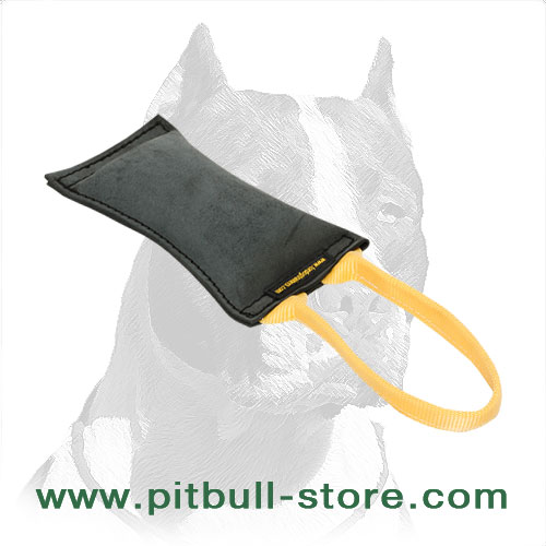 Leather dog tug with soft stuffing