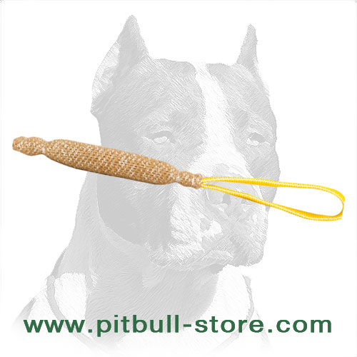 Dog training bite tug for Pitbulls made of jute material