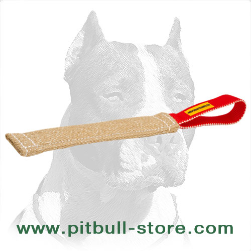 Pocket size Pitbull jute training tag