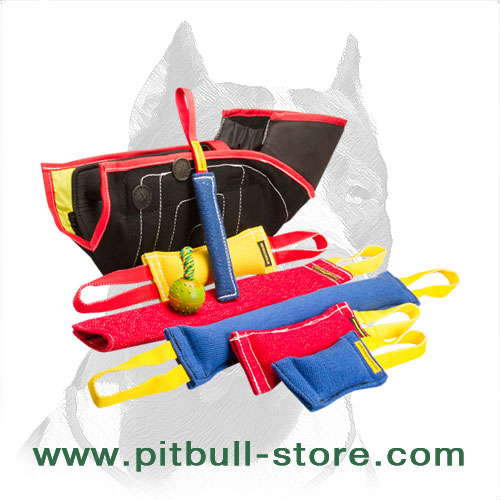 French linen dog bite training tugs, rag and sleeve + rubber ball