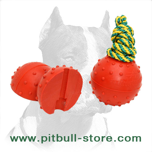 Rubber ball for Pitbulls with dotted surface