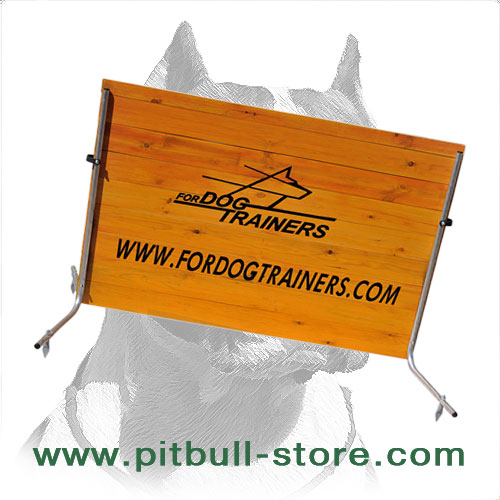 Wooden barrier to train dog for competitions