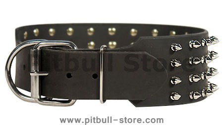 3 inch Spiked and Studded Pitbull collar