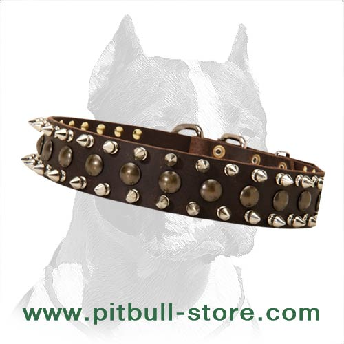 Personalized Spiked Studded Dog Collar-custom leather dog collar