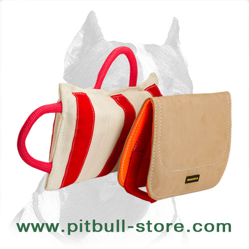 'Prof Bite' Pitbull Dog Training Pillow with Leather Cover