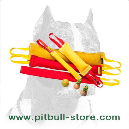 Pitbull Dog Training Set of French Linen Bite Tugs + 3 Gifts