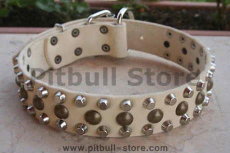 3 Rows Leather Dog Collar &Pyramids and Studs-Studded dog collar