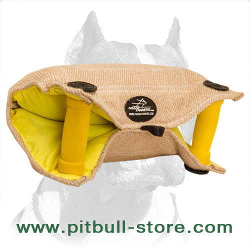 Strong Pitbull Dog Bite Builder Made of Jute