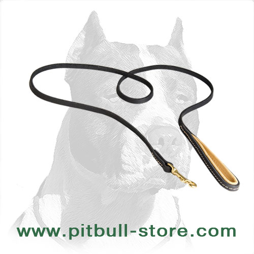 Strong Leather Pitbull Dog Leash with Durable Stitching