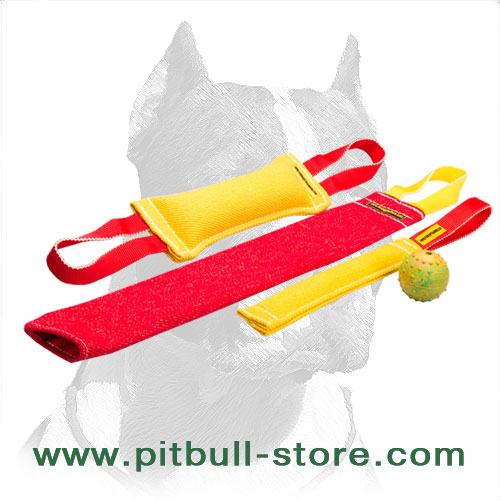 Pitbull Set of French Linen Training Bite Tugs + Free Dog Tinkling Ball