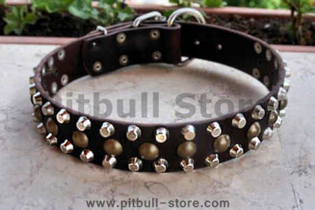 3 Rows Leather Dog Collar &Pyramids & Studs-Studded dog collar