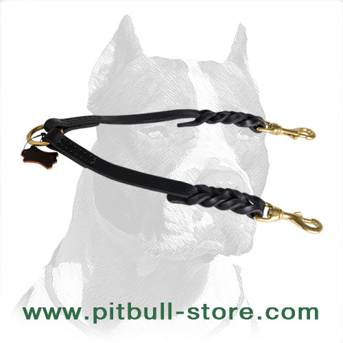 Braided Leather Pitbull Dog Coupler for Walking 2 Dogs
