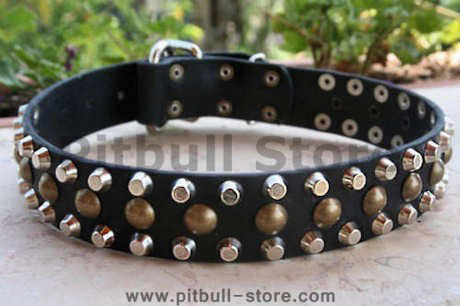 3 Rows Leather Dog Collar with Pyramids and Studs-Studded collar