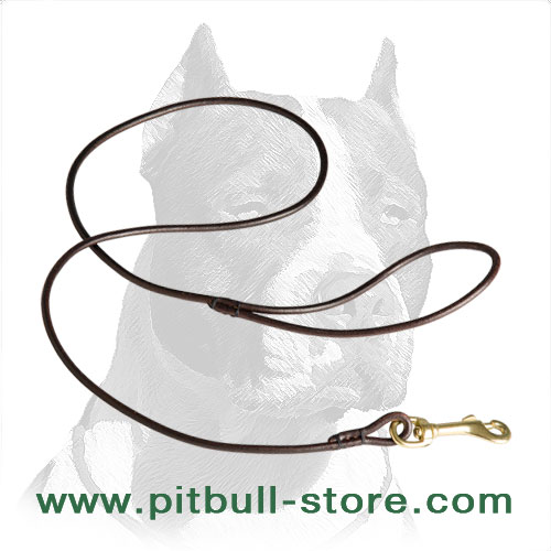 Round Edged Pitbull Dog Leash of Genuine Leather