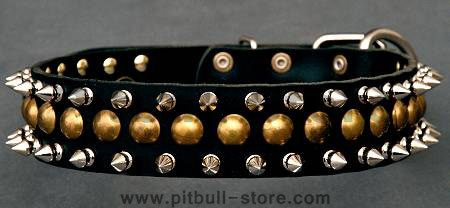 handmade leather dog collar for pitbull