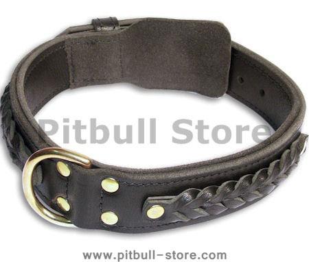 PITBULL Braided Black collar 23'' /23 inch dog collar -C55s33