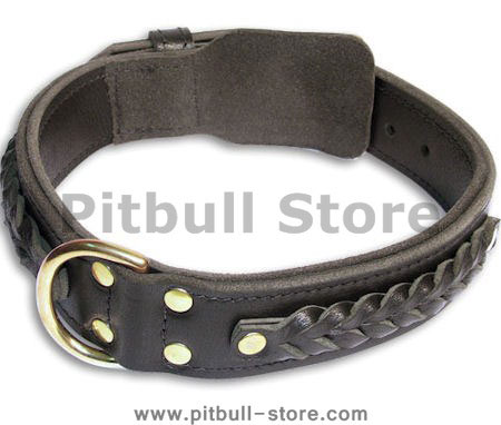 Leather Braided Black collar 26'' for PITBULL /26 inch dog collar-C55s33