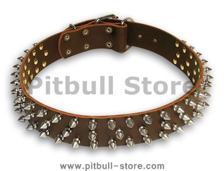 Leather Spike Brown collar 25'' for PITBULL /25 inch dog collar - S44