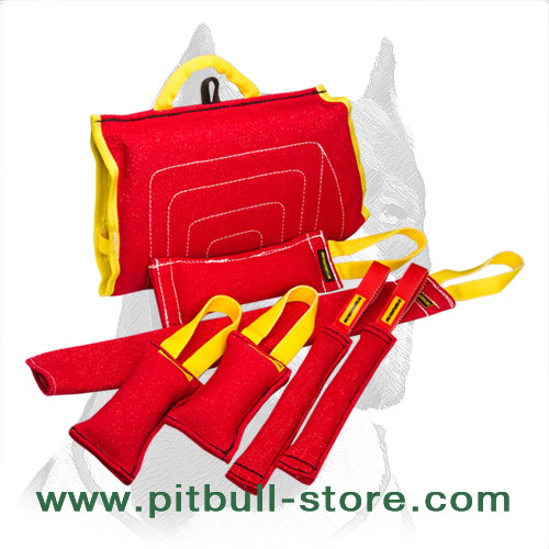 Upgraded Pitbull Puppy Training Set of French Linen Bite Tugs