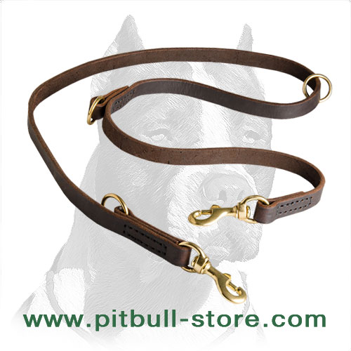 Pitbull leash of full grain latigo leather