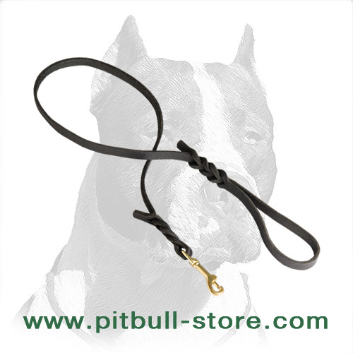 Pitbull dog leash of soft 1/2 inch wide, waxed edges