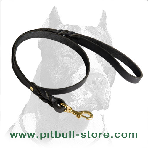 Leather dog leash of 100% full grain leather